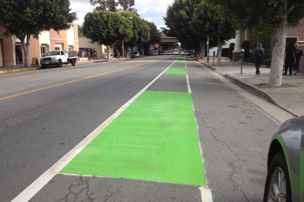 Boyle Heights bike lanes go green
