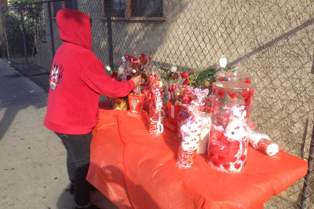 Vendors cash in on Valentine's Day sales on the streets of Boyle Heights