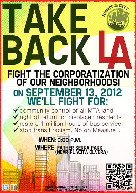 Afternoon protest today against Metro developments in Boyle Heights