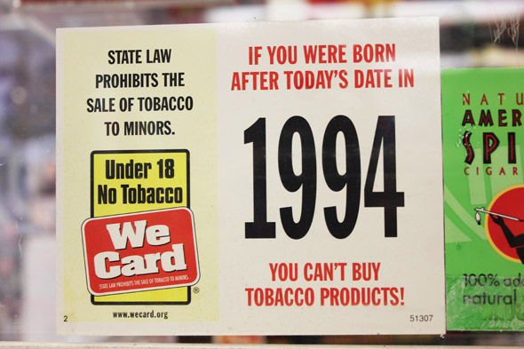 tobacco sales sign