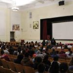 Roosevelt auditorium filled with those celebrating Aguilar's life. Photo by Arturo Torres.