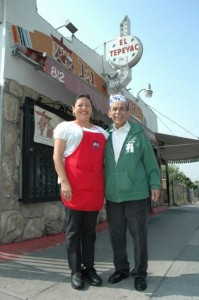 Manuel Rojas with daughter Elena Rojas outside El Tepeyac Cafe. Photo by Erik Sarni