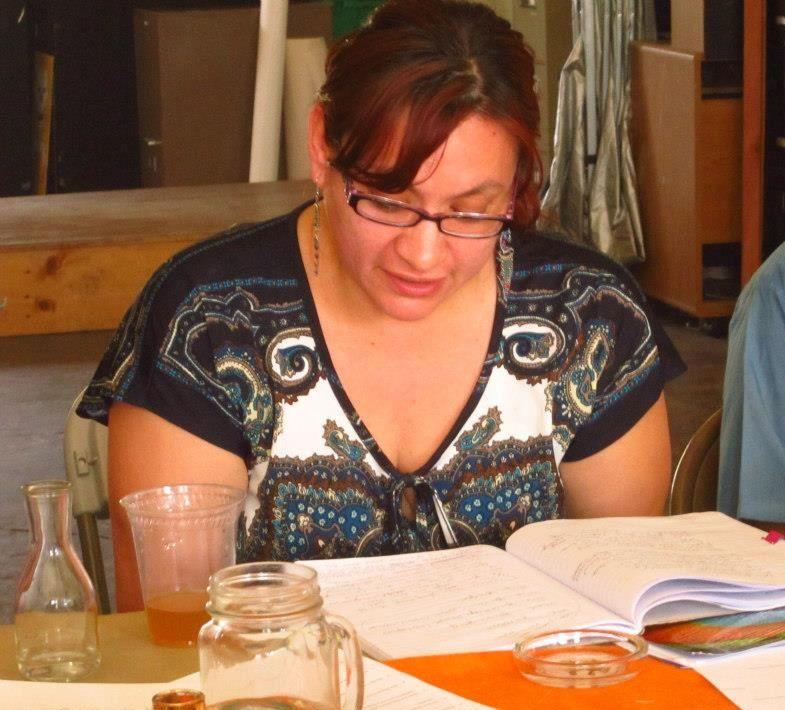 Photo of Luz Montalvo at  Weaving Words, Creating Worlds Workshop/ Facebook- Alejandra Sanchez