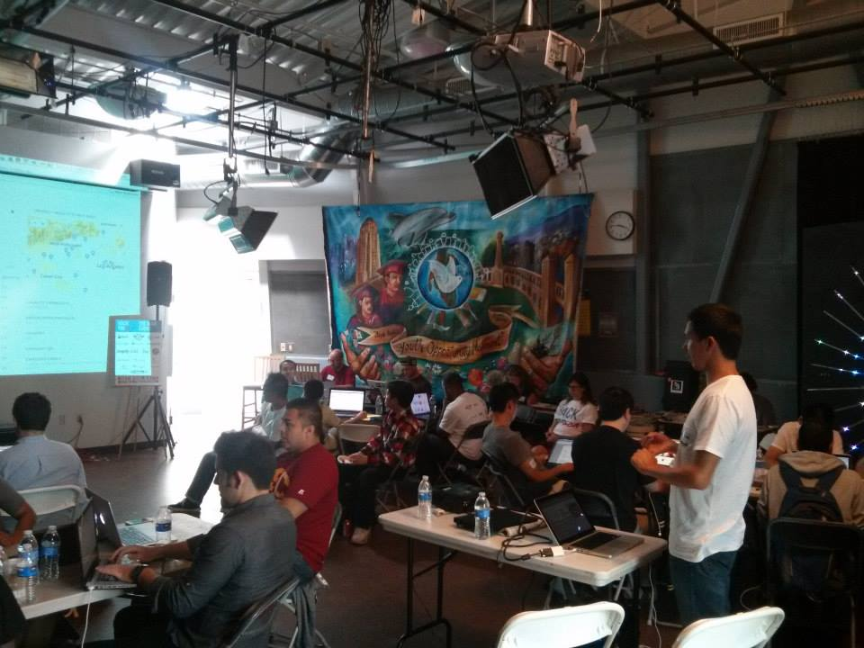 Teams break out to create apps at the Boyle Heights Technology Youth Center. /Photo from Hack for LA Facebook Page