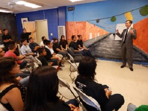 Los Angeles Mayor Eric Garcetti speaks to youth groups from Legacy LA. Photo by Lourdes Espinoza.