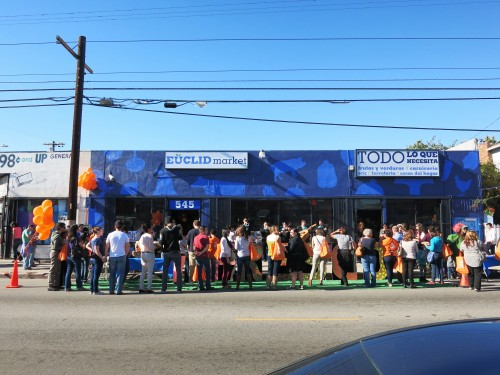 Residents celebrate the transformation of Euclid Market in Boyle Heights. Photo from PublicMattersGroup.com