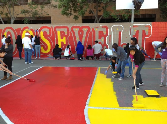 Volunteers beautify Roosevelt High School campus on Martin Luther King Jr. Day of Service