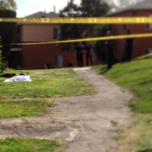 A male victim lies dead after a shooting in the Wyvernwood Garden Apartments Wednesday. Photo courtesy of Evelyn Martinez.