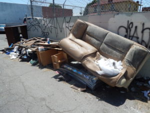 One of the biggest trash problems in Boyle Heights is the disposal of bulky items. Photo by Jackie Ramirez