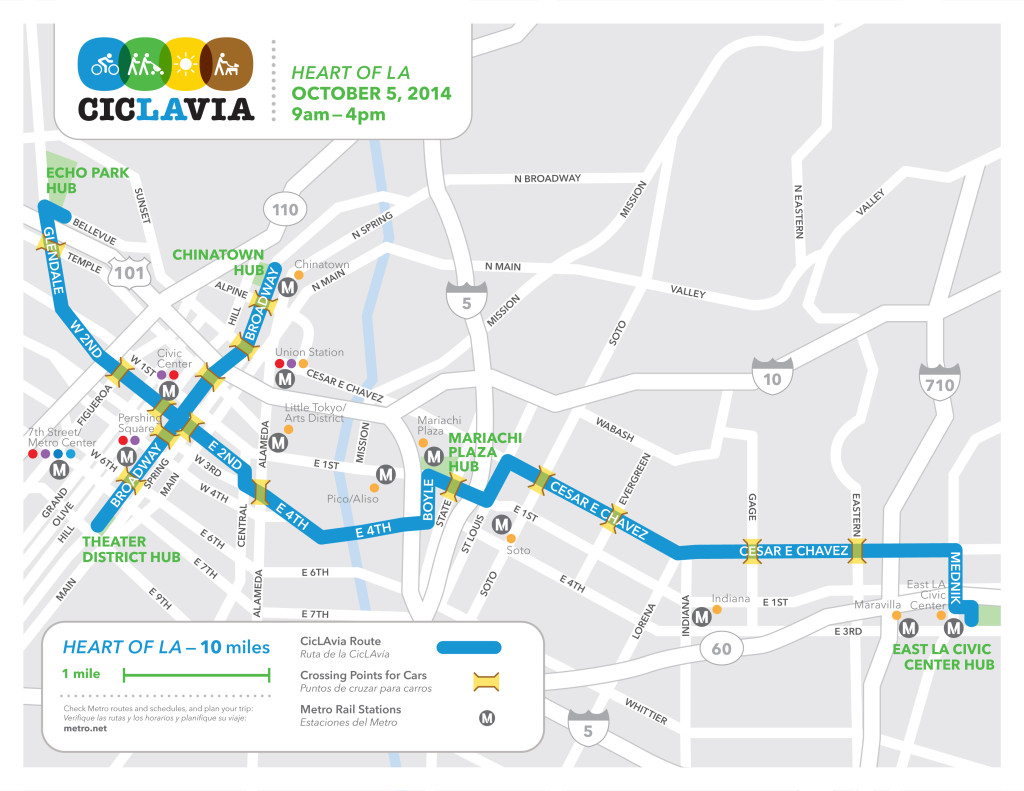 CicLAvia's October 5th route begins in Echo Park and continues through Boyle Heights on its way to East L.A.