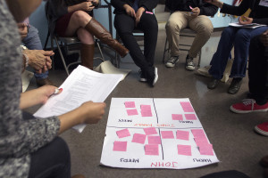Students gather at a restorative justice workshop at Felicitas y Gonzalo Mendez High School. Photo by Jonathan Olivares.