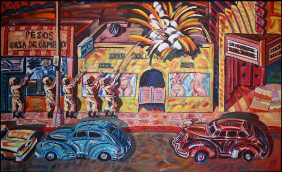 La muerte de Rubén Salazar, 1986, aceite sobre lienzo por Frank Romero. Foto de usuario Flicr Cliff- Creative Commons.