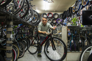 Oriol Bike Shop will provide free bike repair on Cesar Chavez Avenue. Photo by Freddy Monares