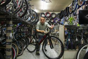 Oriol Bike Shop will provide free bike repair on Cesar Chavez Avenue. Photo by Freddy Monares