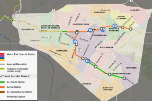 Metro divulga estudio sobre un tren ligero que recorrería del Este de Los Angeles a Whittier o El Monte
