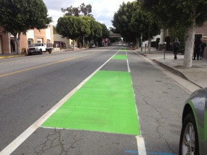 Sendas para bicicletas en Boyle Heights de color verde