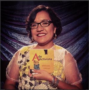 """Martha Gonzalez estrena su primer libro """"A de Activista."""" Foto de pagina de Instragram de Espacio1839's."""