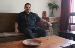 Mario Chavez at his Boye Heights home, which is also his campaign office. Photo by Antonio Mejias