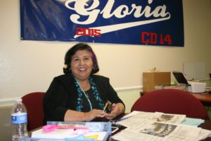 Gloriia Molina in her Boyle Heights campaign office. Photo by Antonio Mejias