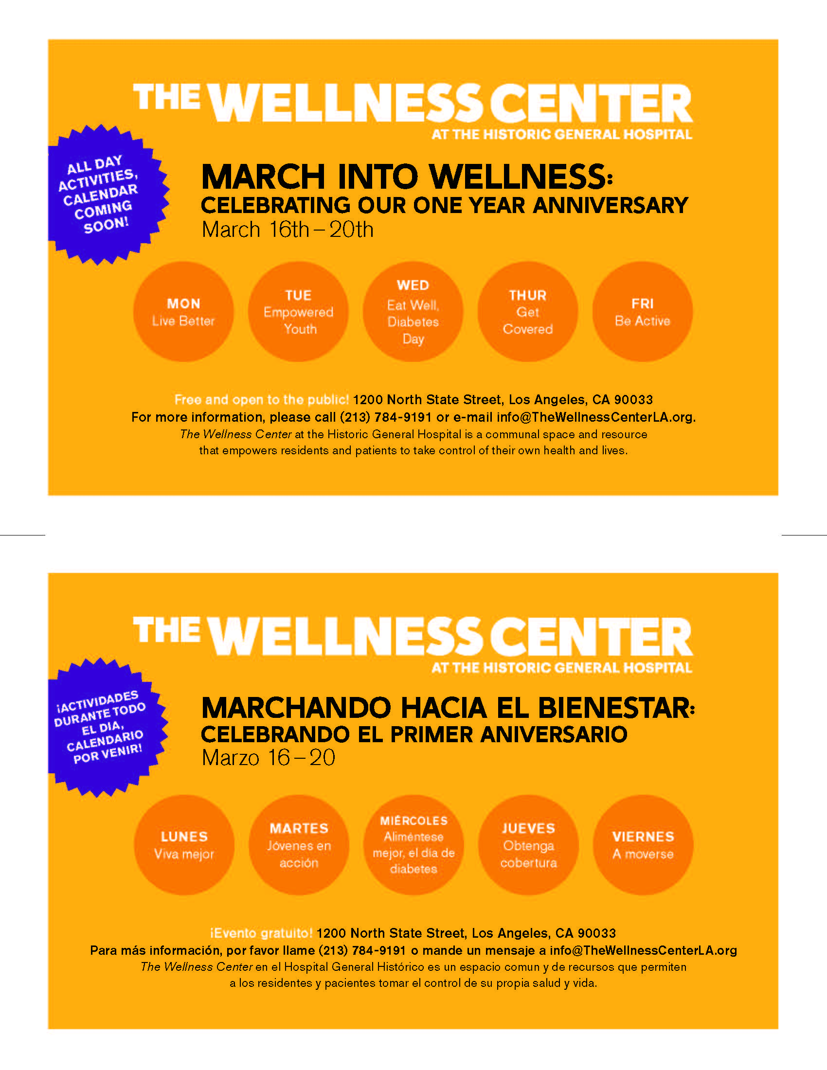 Coming Soon Calendario.The Wellness Center S March Into Wellness Boyle Heights Beat