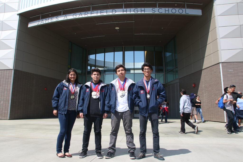 (Right to Left) Wendy Olvera, Joey Nabor, Brian Rios, and Alfonso Caballero will participate the national Academic Decathlon. Photo by Jonathan Olivares