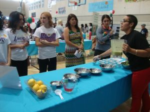 Monica Perez presents a food demonstration at the Healthy Highway for Health event this spring at Mendez High School. Photo by Daisy Escorcia.
