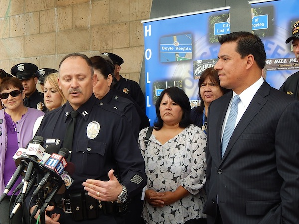 Captain Martin Baeza, commanding officer of the Hollenbeck Division and Councilman Jose Huizar announced a new LAPD Community Partners Program. Photo by Antonio Mejias.