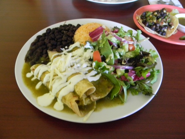 Vegetarian enchiladas at Un Solo Sol Kitchen. Photo by Mohini Lavin.