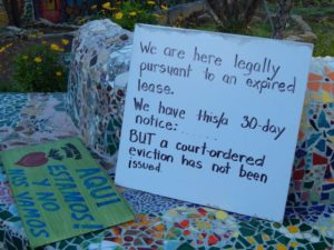 A sign on the grounds of Proyecto Jardín on Monday.