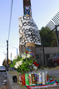 A makeshift memorial for Jesse Romero near the spot where he was shot and killed. Photo by Art Torres.