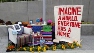 Altar created by Proyecto Pastoral's Guadalupe Homeless shelter. Photo by Raquel Román.