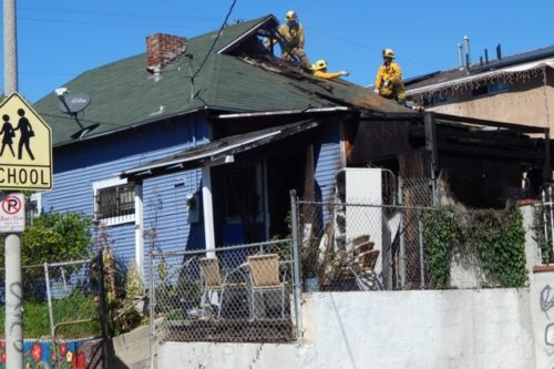 Fire crews put out house fire in Boyle Heights