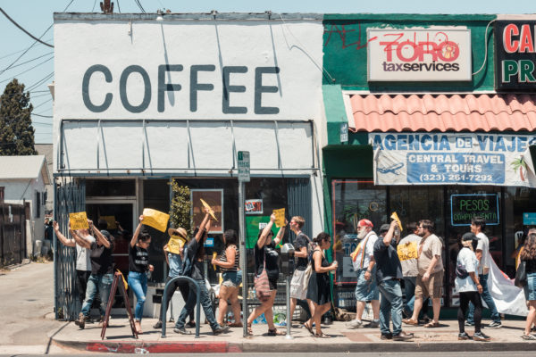New Boyle Heights coffee shop met with anti gentrification protesters