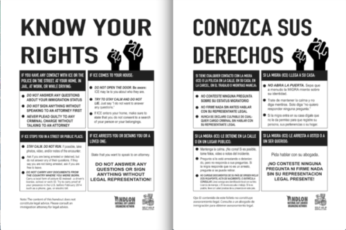 Self-Help prints, hands out 'Know Your Rights' posters