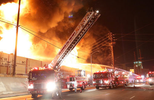 Fire engulfs a Boyle Heights fabric plant