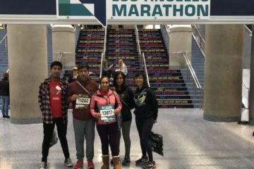 Libertad González (right) and her family after the 2018 LA Marathon